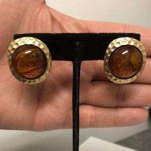 Kenneth Lane Gold Tone Amber Stud Earrings J-8